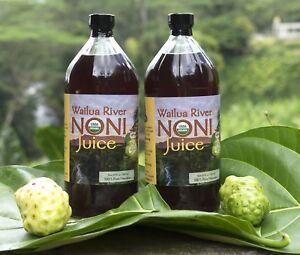 100-PURE-HAWAIIAN-WAILUA-RIVER-NONI-JUICE-Two-Glass-Bottles-32-oz-each