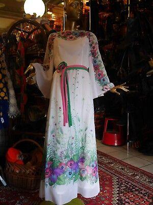 Abito Maxi M-l Fiori Hippie Dea Bianco 70er True Vintage Floor Length Dress-mostra Il Titolo Originale