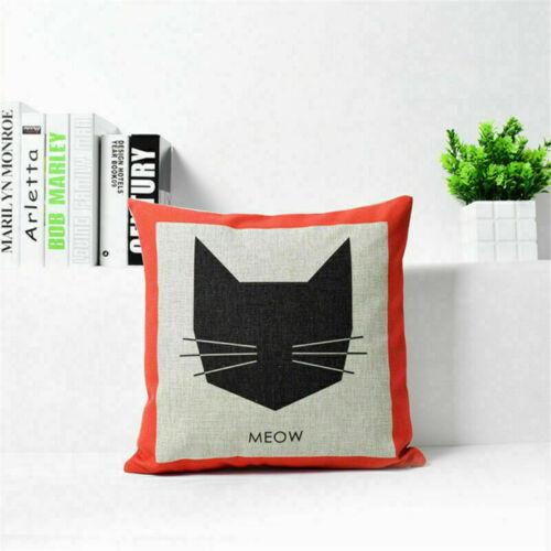 Cartoon Cat Cut Cotton Linen Throw Pillow Case Sofa Cushion Cover Home Decor