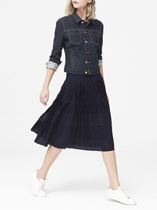 Banana Republic Laser-Cut Pleated Midi Skirt, sz 20
