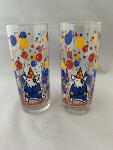 Vintage 1987 BUD LIGHT Spuds Mackenzie Dog Glass Tumblers Set Of 2  12floz