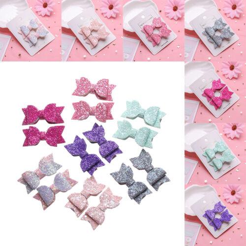 Party Baby Girls Glitter Bows Headwear Kids Hair Clips Sequin Bow Cute Hairpins~