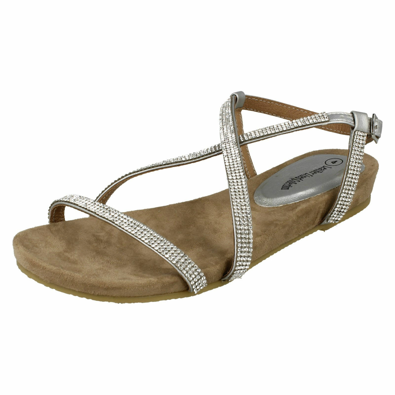 F0979- Ladies Silver Leather Lined Sandals Collection Diamante X Strap Sandals Lined a150e4