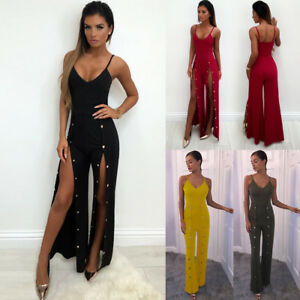 Women-s-Jumpsuits-Sexy-Halter-Tops-Pants-Rivets-Slit-To-The-Thigh-4-Colors