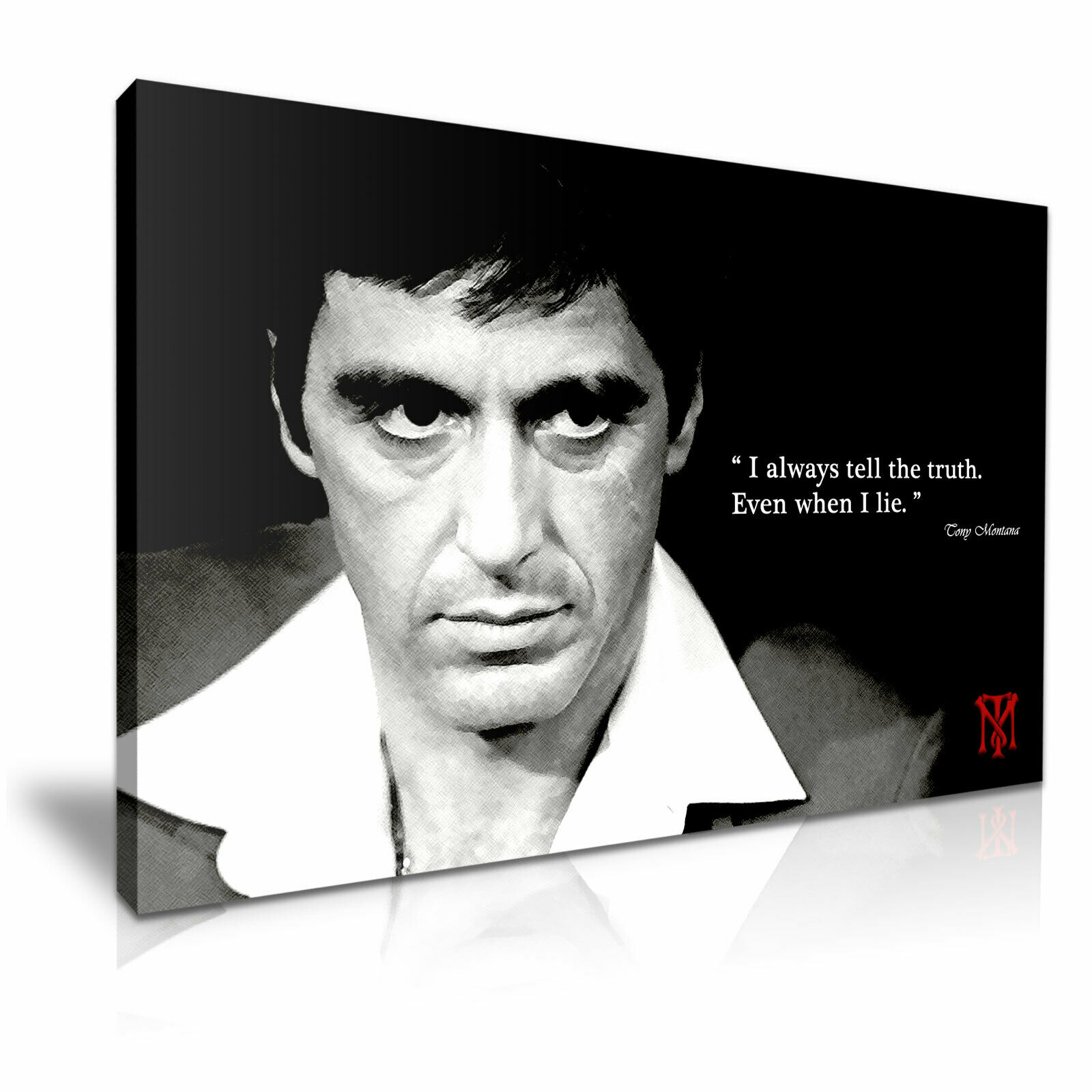 ' Scarface Tony Montana & Quotes & Logo ' Film Movie Canvas Art Deco