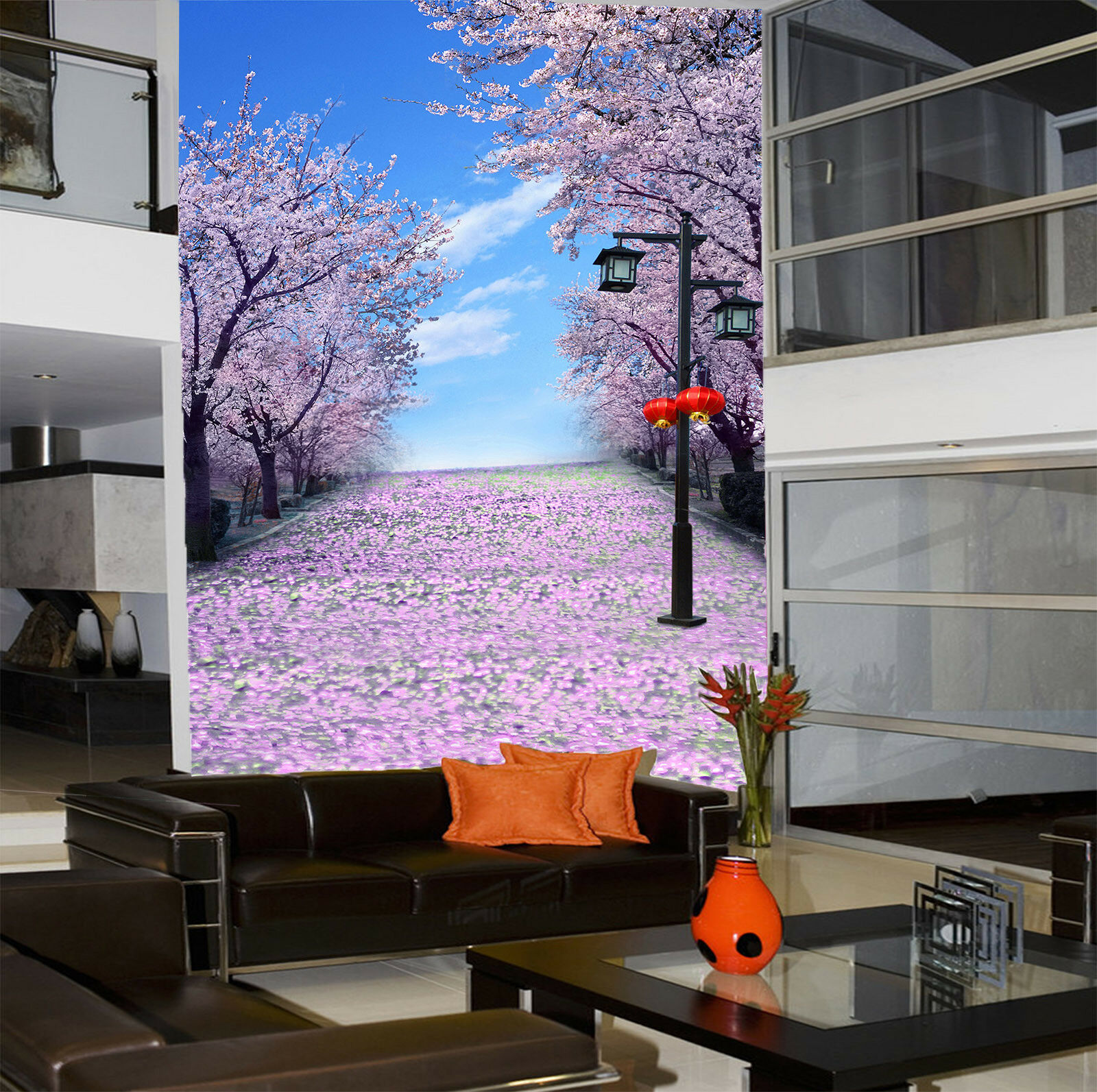 3D Japan Cherry Flower Road 6 Wall Paper Wall Print Decal Wall Deco Indoor Mural