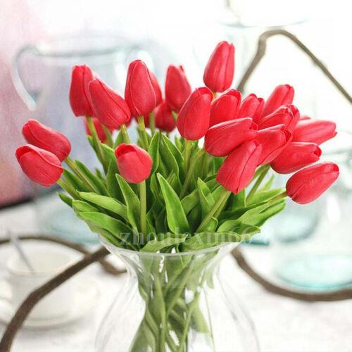 1-100Pcs Tulip Artificial Flower Latex Real Bridal Wedding Bouquet Decor