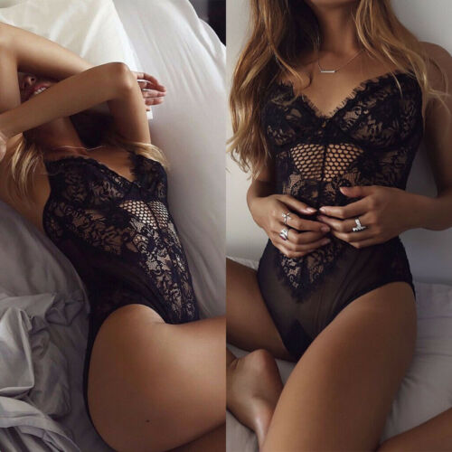 Women Ladies Strappy V Neck Lace See-through Sheer Bodycon Bodysuit Lingerie Top