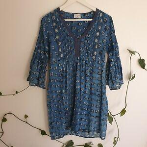 Tree-Of-Life-Blue-Block-Printed-Cotton-Mini-Dress-M-Flare-Sleeve-Boho-Made-India