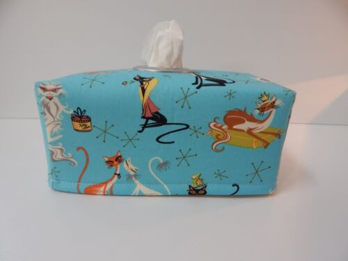Tissue Box Cover Fancy Felines Blue With Circle Opening Great Gift!