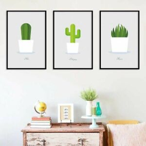 Potted Plant Cactus Poster Nordic Canvas Painting Office Wall