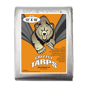 Grizzly-12x16-10Mil-Tarps-Heavy-Duty-Waterproof-Tarp-Camping-Boats-Silver
