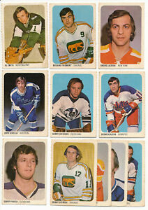 Lot-of-11-1973-74-Quaker-Oats-WHA-Hockey-Cards-LACROIX-CHEEVERS-PINDER-AL-SMITH