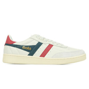 Chaussures Baskets Gola homme Contact Leather taille Blanc Blanche Cuir Lacets