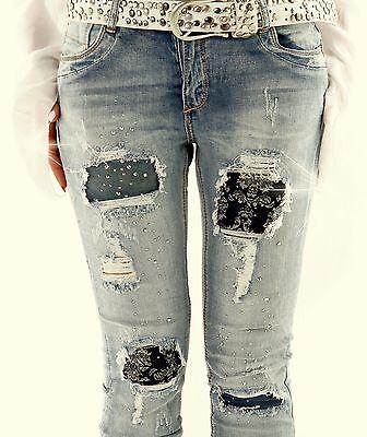 Jeansröhre Jeans Glitzer Destroyed XS S M L XL 32 34 36 38 40 blau push up Skinn