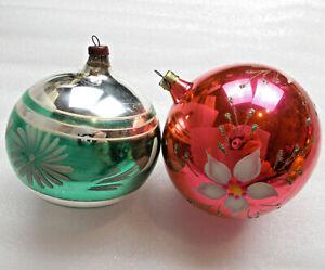 2-Alten-Antiker-Russen-Christbaumschmuck-Glas-Weihnachtsschmuck-Ornament-Kugels