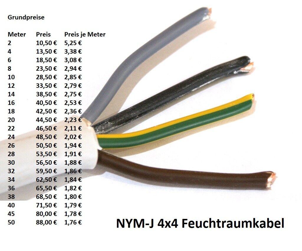 NYM-J 4x4 mm² Feuchtraumkabel Mantelleitung Stromkabel (ab 2 meter abgemessen) | Ab dem neuesten Modell