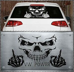 skull vw power aufkleber sticker totenkopf heckscheiben. Black Bedroom Furniture Sets. Home Design Ideas