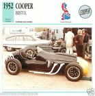 COOPER BRISTOL 1952 CAR VOITURE Great Britain GRANDE BRETAGNE CARTE CARD FICHE