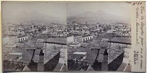 Panorama Da Napoli Italia Fotografia Stereo Vintage Albumina c1865