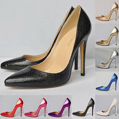 Womens Crocodile Pattern High Heel Stilettos Platform Pumps Shoes Size US 4 - 11
