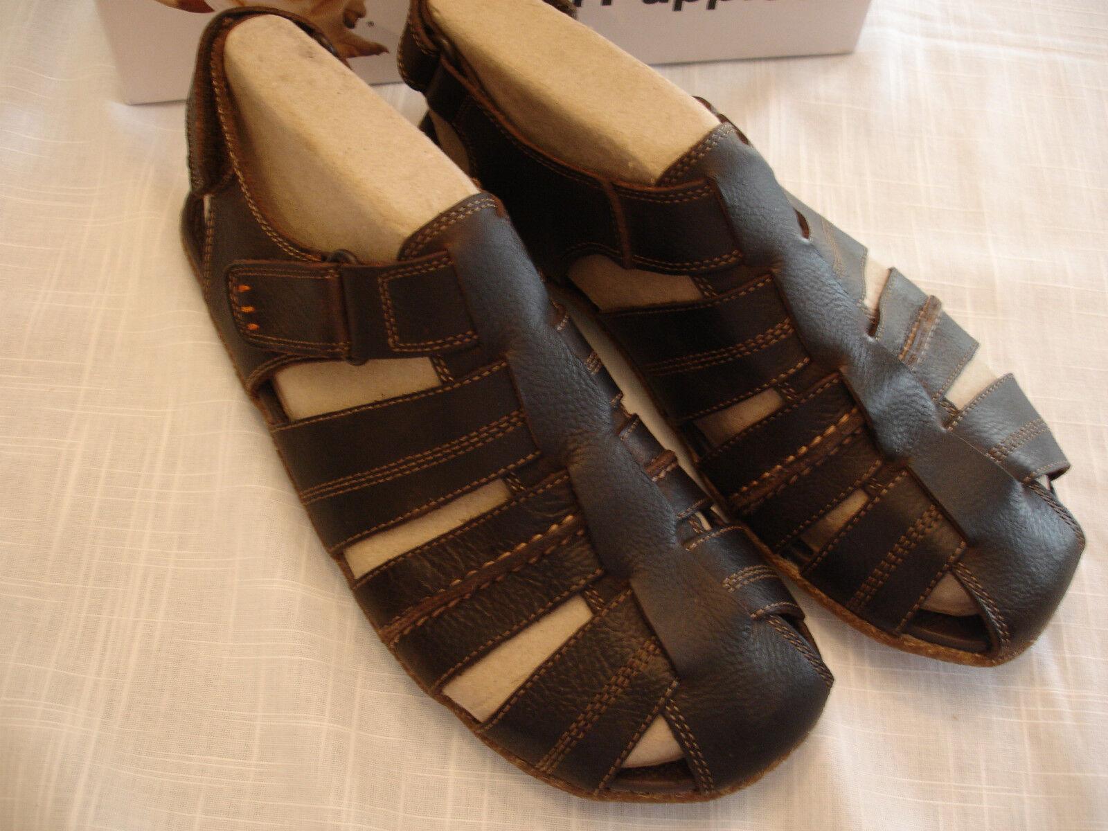 HUSH PUPPIES Brown Pelle Fisherman Sandals Shoes Uomo Sz 10 M NIB
