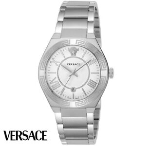Versace-VEAW001-18-Landmark-weiss-silber-Edelstahl-Armband-Uhr-Herren-NEU