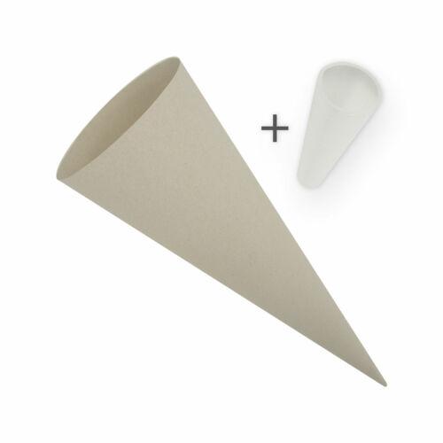 itenga Schultüte Zuckertüte Rohling Bastel Set Karton Grau 70 cm Spitzenschutz