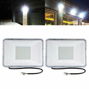 2x-100W-LED-Flood-Light-Outdoor-Lighting-Spotlight-Yard-Garden-Lamp-Cool-White
