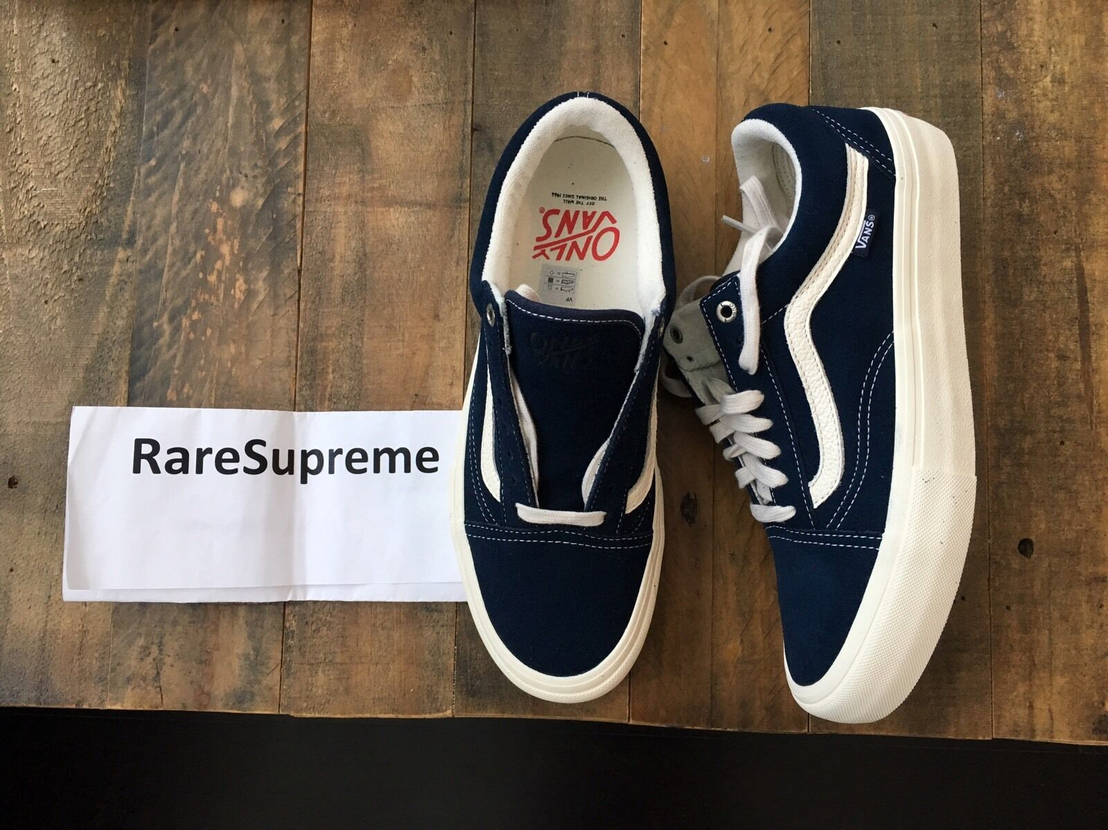RARE Only NY Vans Old Skool PRO Sz 8 - Navy supreme Vault Logo syndicate box