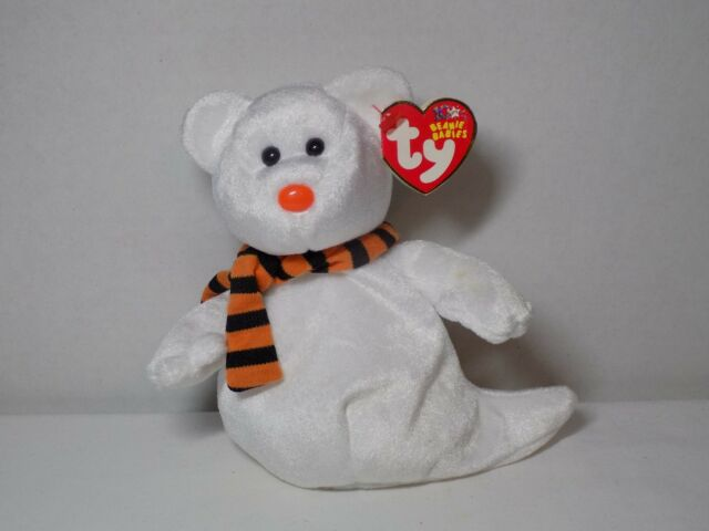 TY Beanie Baby/Babies Quivers w Tags Scarf Ghost Teddy Bear Halloween Fall Decor