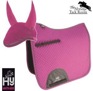 HyWITHER-Sport-Active-Dressage-Saddle-Pad-Fly-Veil-Set-Bubblegum-Pink-Cob-Ful