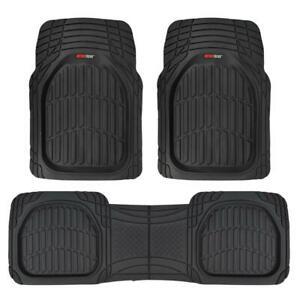 FlexTough-Shell-Rubber-Floor-Mats-Black-Heavy-Duty-Deep-Channels-for-Car-3pc-Set