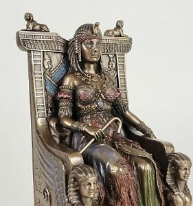EGYPTIAN-QUEEN-CLEOPATRA-on-Throne-Statue-Sculpture-Bronze-Finish-egypt