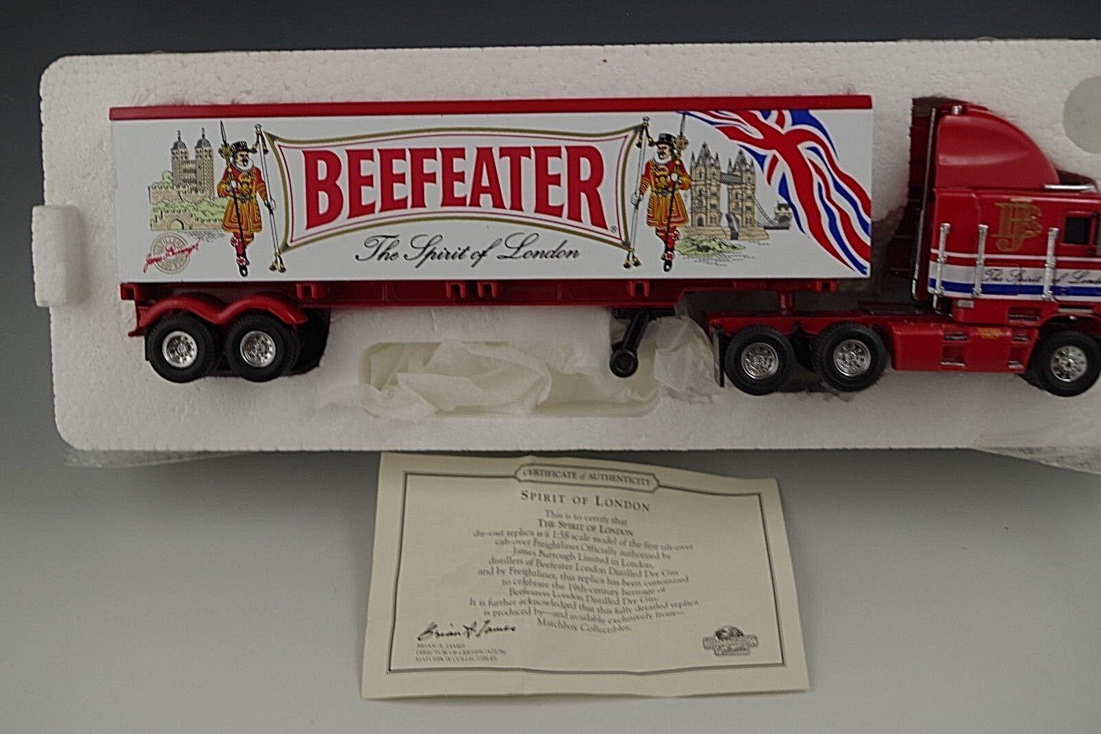 MATCHBOX MATCHBOX MATCHBOX SPIRIT OF LONDON BEEFEATER TRACTOR TRAILER 1 58 SCALE DIE CAST MIB 445a44