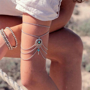 Boho-Ankle-Bracelet-Silver-Tone-Womens-Fashion-Beaded-Adjustable-Beach-Anklet