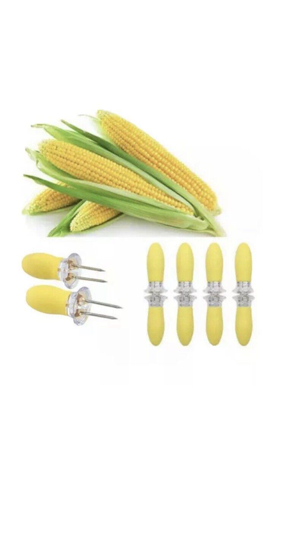 10 pc Soft Grip Corn Skewer COB Holder BBQ Fork Kitchen Tool Useful Skewers,NEW