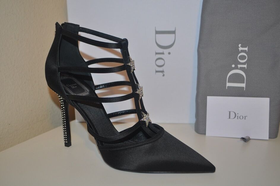 Nuevo En Caja  1240 Christian Dior Negro Satinado Gladiador Sandalia Zapato jaula Star Galaxy 38-8