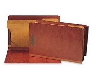 Smead-29860-Pressboard-End-Tab-Classification-Folders-Legal-2-Part-Red-20-Count
