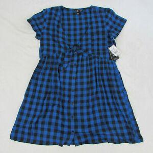 Volcom-Womens-Blue-Plaid-Flannel-look-Short-Summer-Dress-New-49-50