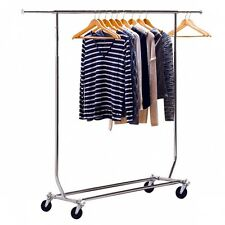 Heavy Duty Commercial Grade Clothing Garment Rolling Rack Clothes Stand 150lb
