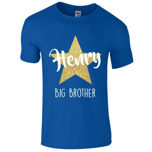 Boys Personalised Name Big Brother T-Shirt Customised Printed Gold Glitter Star