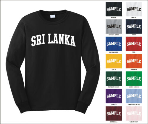 Country of Sri Lanka College Letter Long Sleeve Jersey T-shirt