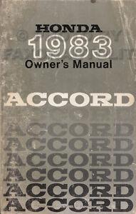 1983 honda accord owners manual original owner guide book sedan rh ebay com 2017 accord owners manual honda accord owners manual
