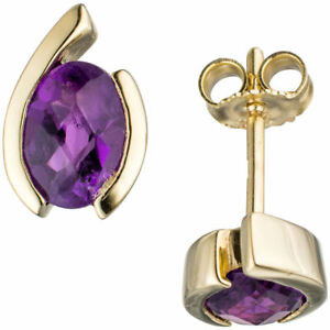 Ohrstecker-oval-333-Gold-Gelbgold-2-Amethyste-lila-Hoehe-10-5-mm-Breite-6-9-mm