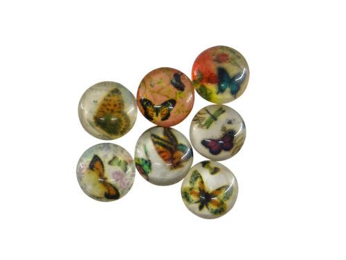 Lot de 7 cabochons 12 mm en verre thème motif papillon-cab112