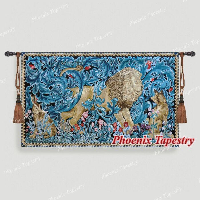 140 x 85cm Wandteppich Wandbehang  Löwe  - William Morris, Baumwolle 100%   Großartig