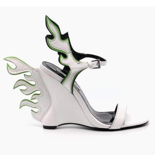 Cape Robbin HELLFLAME White Patent Flame Accent Open Toe Ankle Strap Wedge Heel