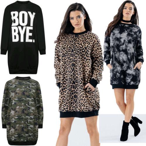 Womens Camouflage Sweatshirt Dress Ladies Long Sleeve Pocket Short Mini Top 8-14
