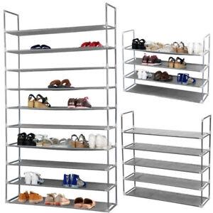 5-10-Tier-Free-Standing-Shoes-Tower-Rack-Metal-Storage-Organizer-Space-Saving-US